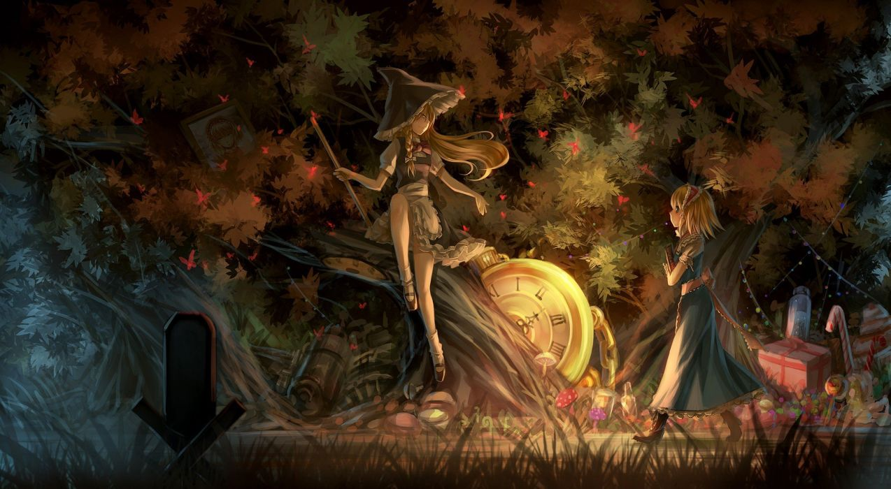 boots blondes video games Touhou trees dress forests blue eyes grass long hair outdoors mushrooms books short hair yellow eyes brooms Kirisame Marisa bows sitting black dress pocket watch braids aprons blue dress profile Alice Margatroid hats anime girls  wallpaper