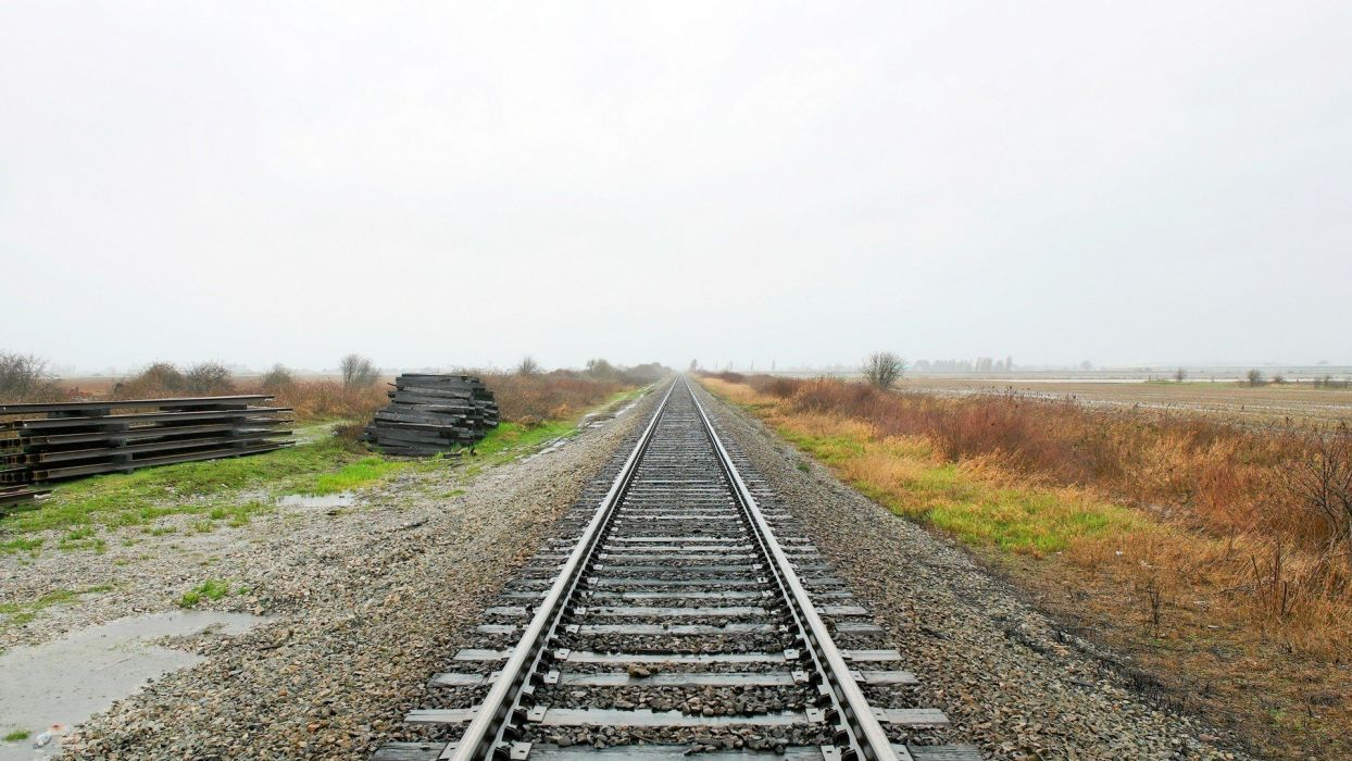 landscapes railroad tracks wallpaper