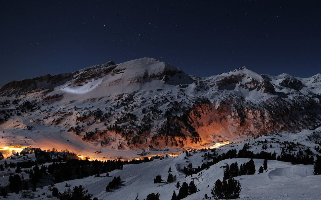 mountains snow night valleys long exposure wallpaper