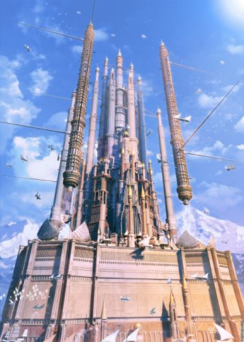 fantasy clouds castles cityscapes ships scenic ArseniXC wallpaper