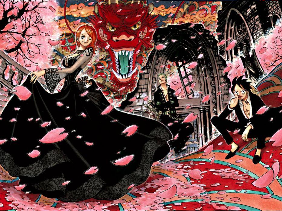 cherry blossoms One Piece (anime) Roronoa Zoro Monkey D Luffy Nami (One Piece) wallpaper