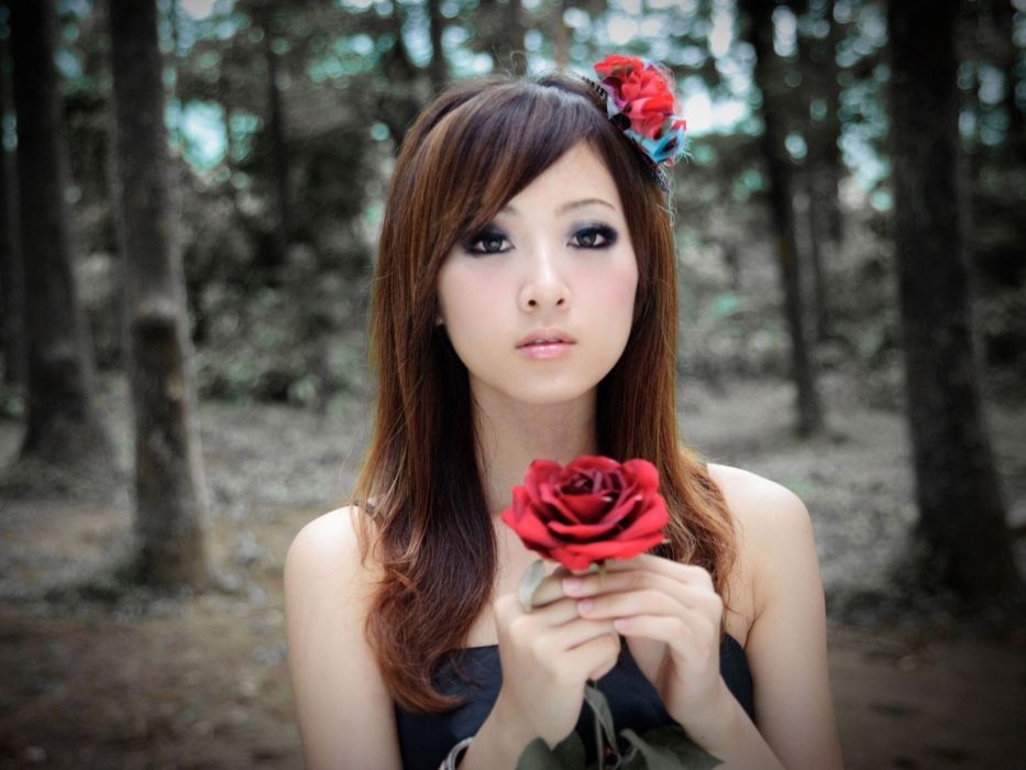 brunettes women forests Asians roses blurred Mikako Zhang Kaijie wallpaper