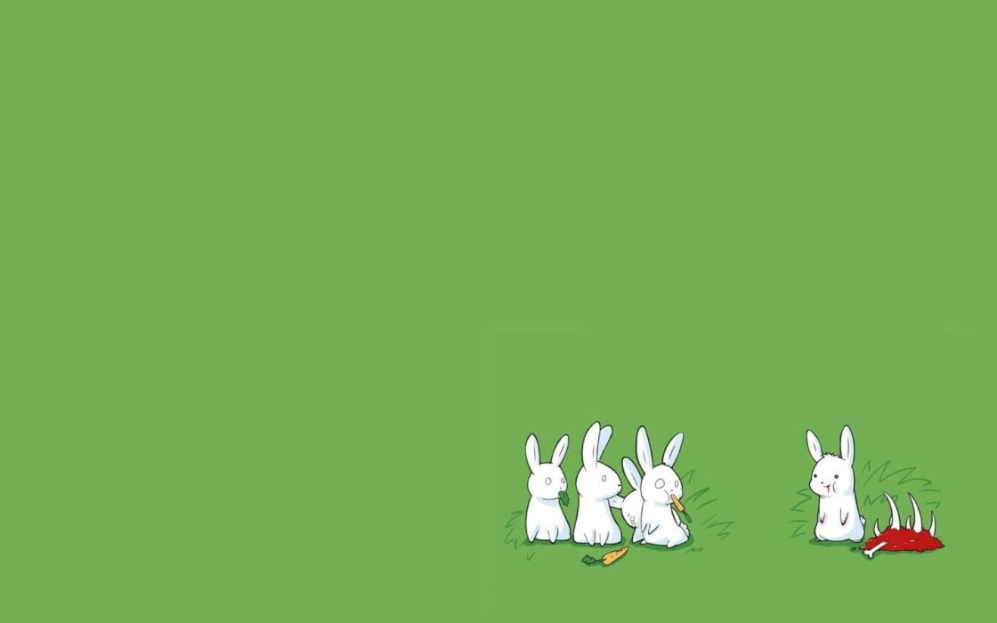 bunnies minimalistic drawings simple background simple green background wallpaper