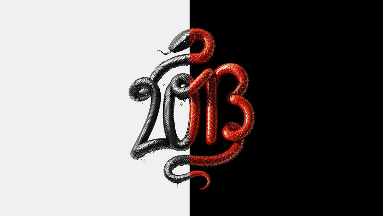 snakes typography numbers digital art artwork water drops split wallpaper