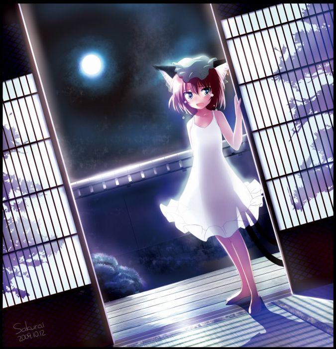 tails video games Touhou Moon nekomimi animal ears cat ears lolicon anime Chen hats anime girls wallpaper