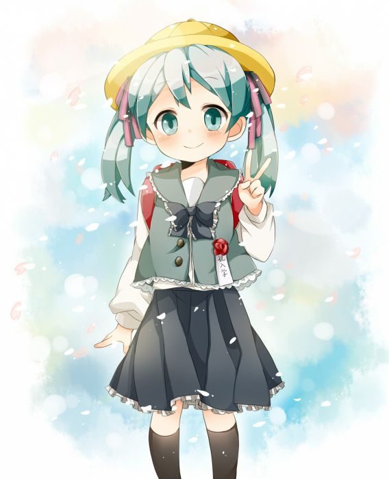 Vocaloid Hatsune Miku schoolgirls anime manga victory V sign wallpaper