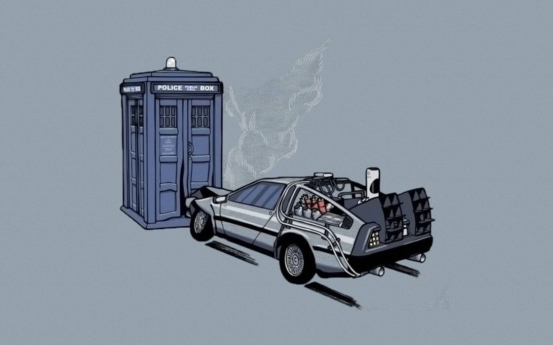 TARDIS Back to the Future Doctor Who crossovers DeLorean DMC-12 wallpaper