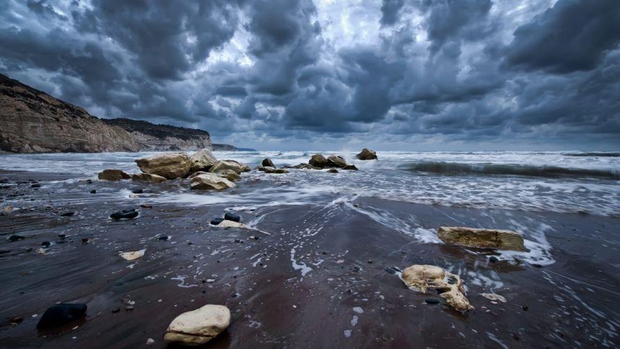 water clouds sand waves stones skies beaches wallpaper