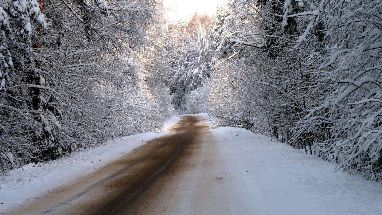 winter snow trees roads TV shows wallpaper