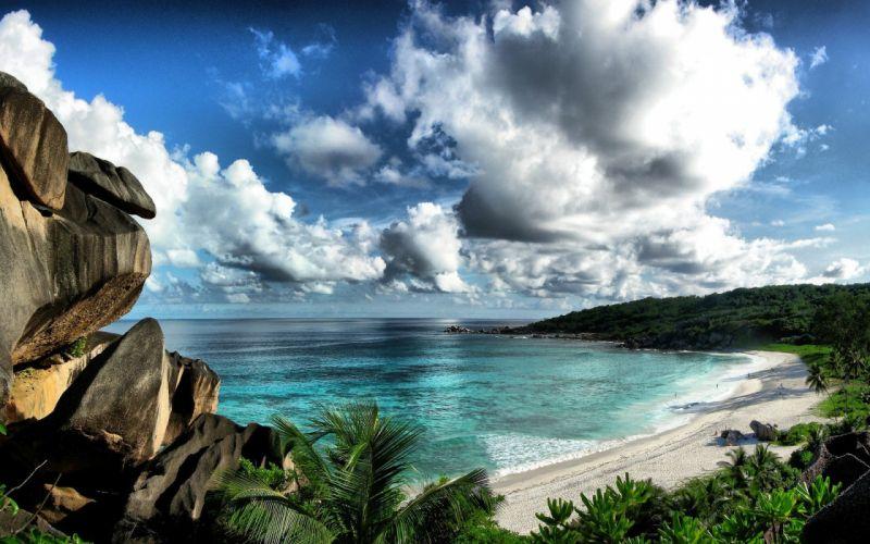 clouds landscapes nature Seychelles beaches wallpaper