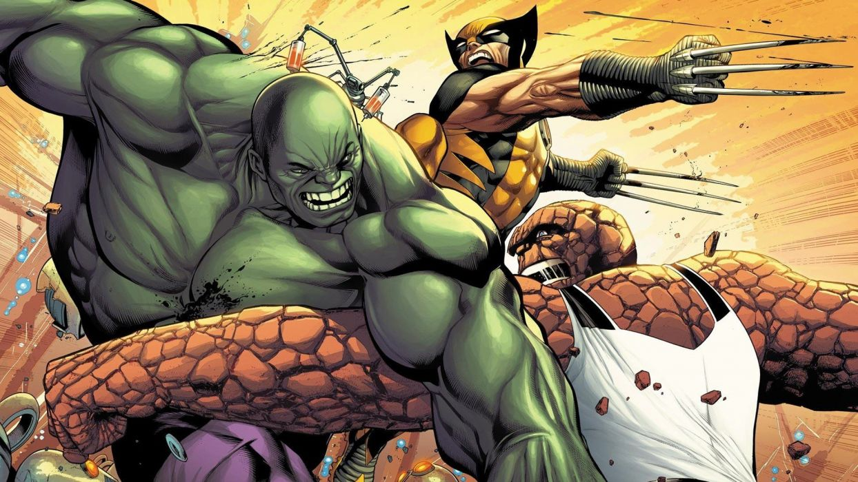 Hulk (comic character) comics Wolverine battles Thing (Ben Grimm) wallpaper