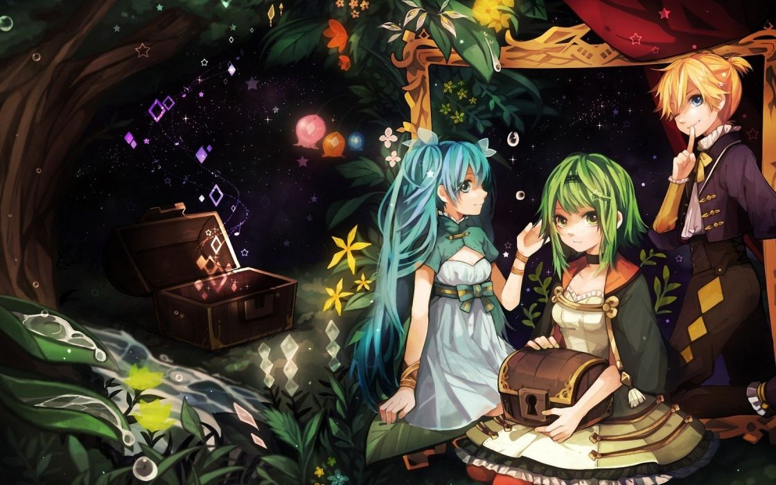 blondes water pants Vocaloid dress stars Hatsune Miku blue eyes long hair argyle pattern Kagamine Len plants green eyes short hair green hair twintails bows water drops ponytails Megpoid Gumi wink choker aqua hair chest hair band hair ornaments wallpaper
