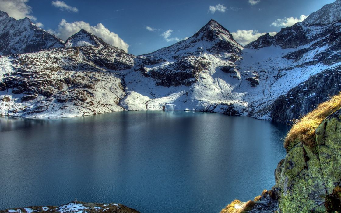 mountains nature snow lakes HDR photography rock wallpaper