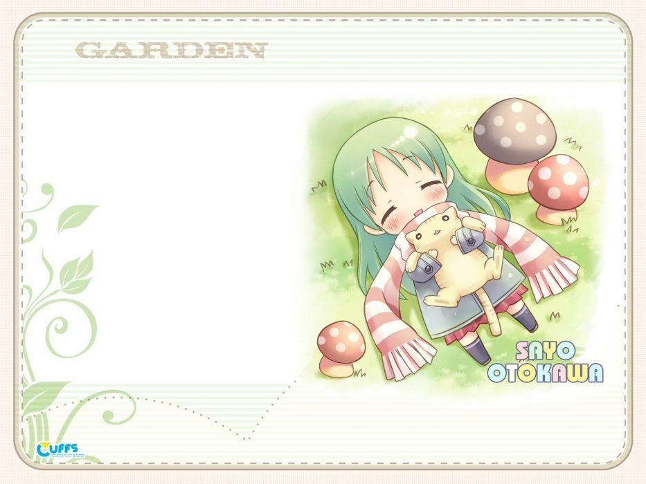 cats mushrooms visual novels green hair Galge Garden (Cuffs) Otokawa Sayo wallpaper