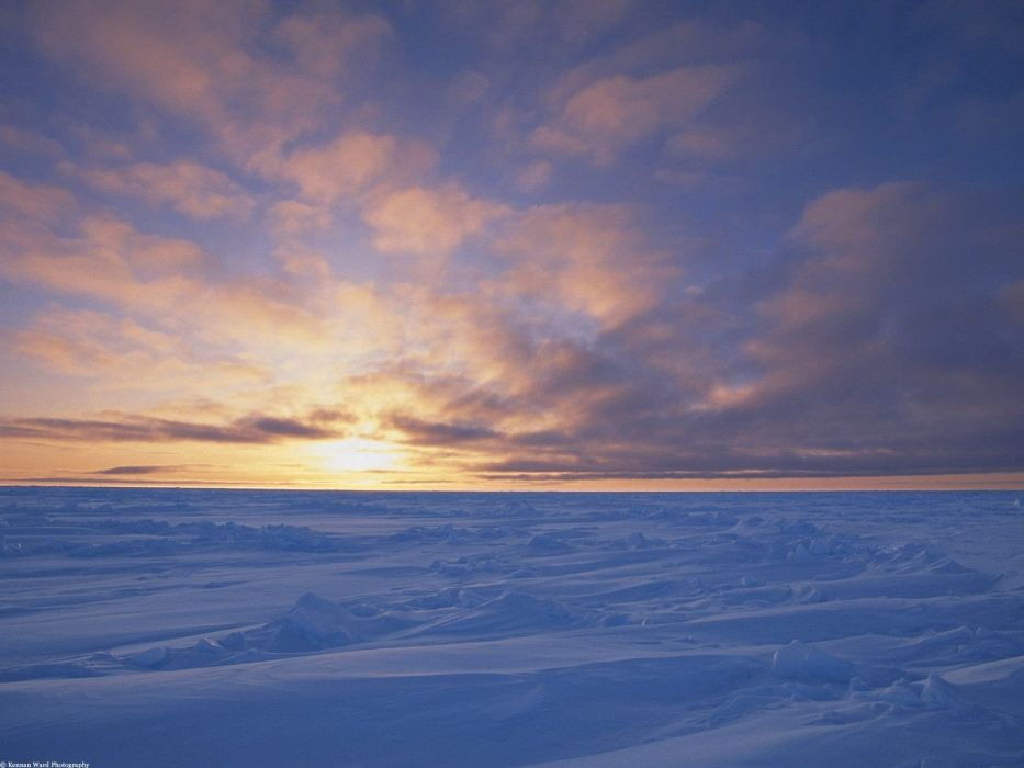 sunset ice clouds Canada arctic wallpaper