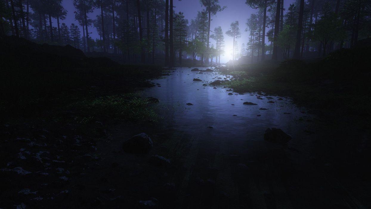landscapes nature forests digital art Vue wallpaper