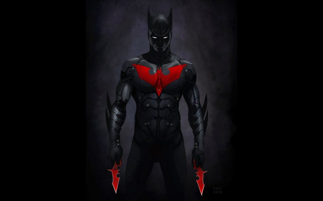 Batman black dark red DC Comics suit men weapons Batman Beyond shuriken Batman emblem Red Emblem wallpaper