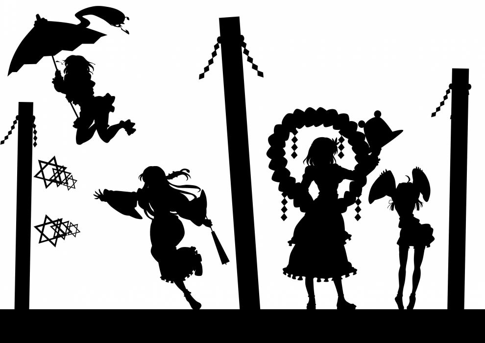 black and white video games Touhou silhouettes Goddess Miko Moriya Suwako umbrellas Kochiya Sanae Yasaka Kanako Tatara Kogasa simple background anime girls wallpaper
