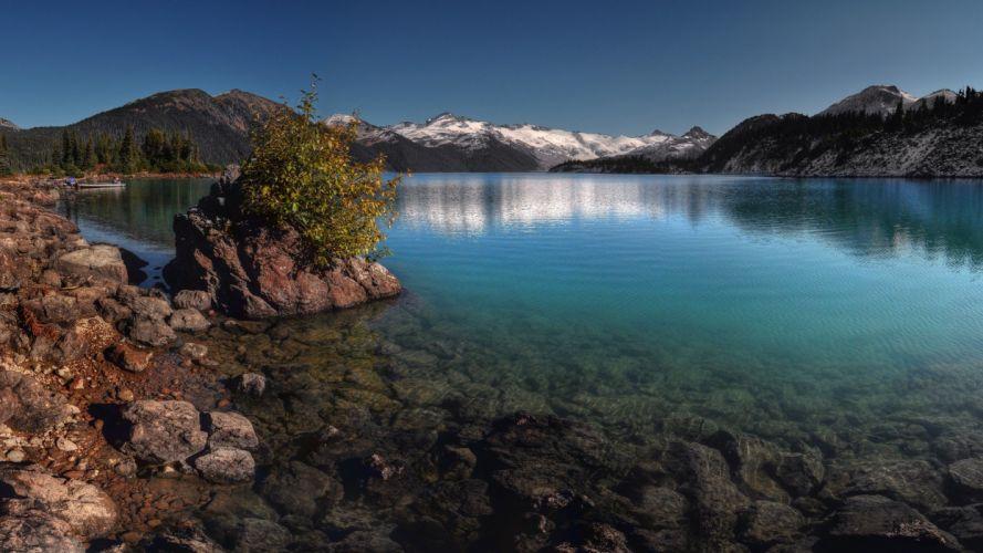 mountains snow lakes wallpaper
