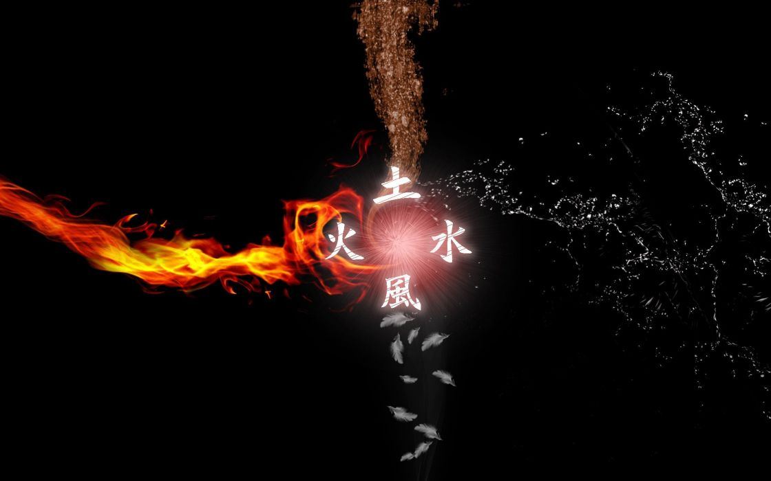 Water Fire Earth Wind Elements Avatar The Last Airbender Digital