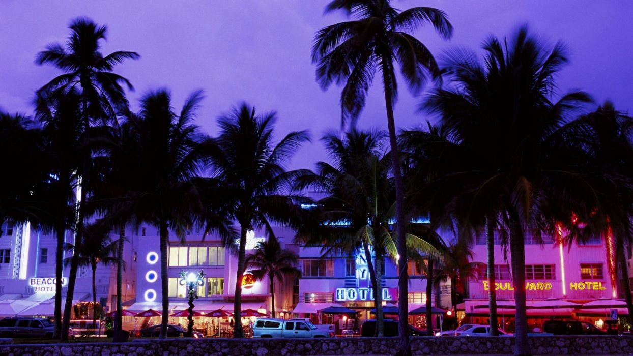 cars Miami street lights palm trees hotels wallpaper