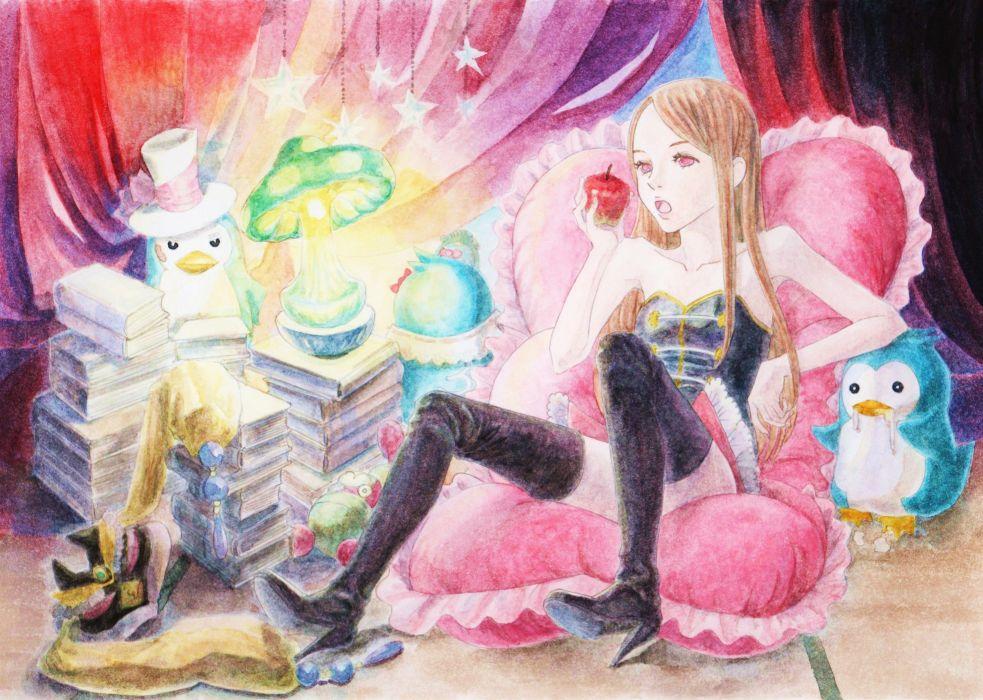 penguins books pillows anime apples Mawaru Penguindrum anime girls Takakura Himari wallpaper