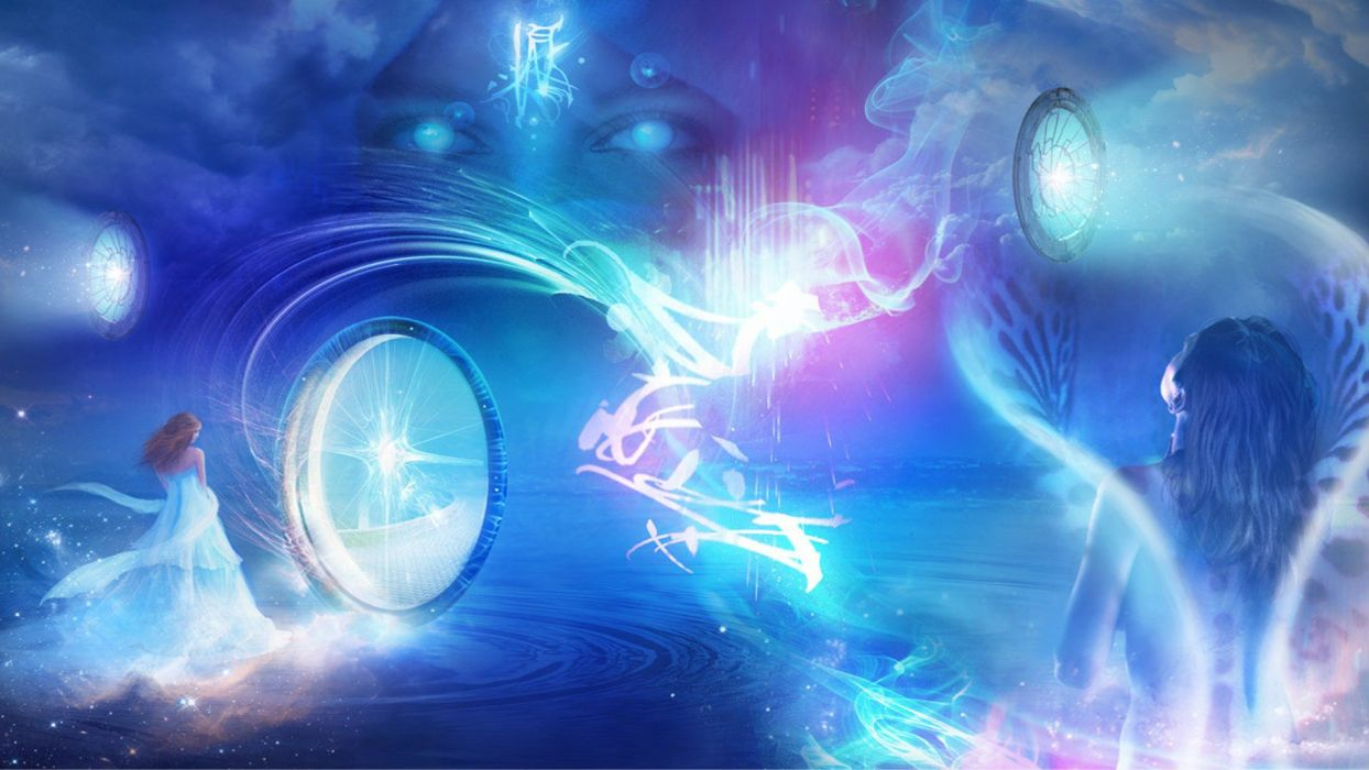 eyes lights fairies fantasy art ripples pastel magical Philip Straub wallpaper