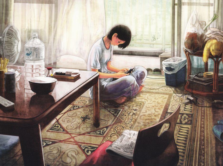 paintings indoors anime girls scans original characters wallpaper