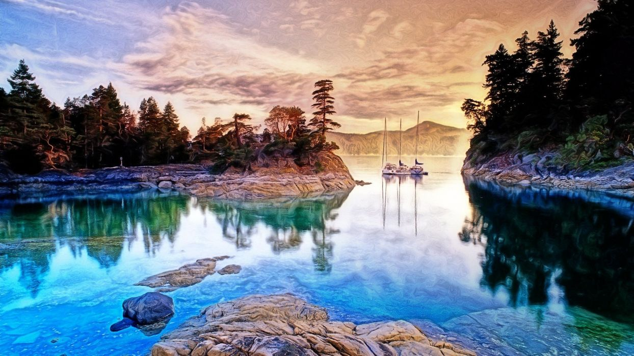 sunset clouds landscapes trees boats lakes wallpaper
