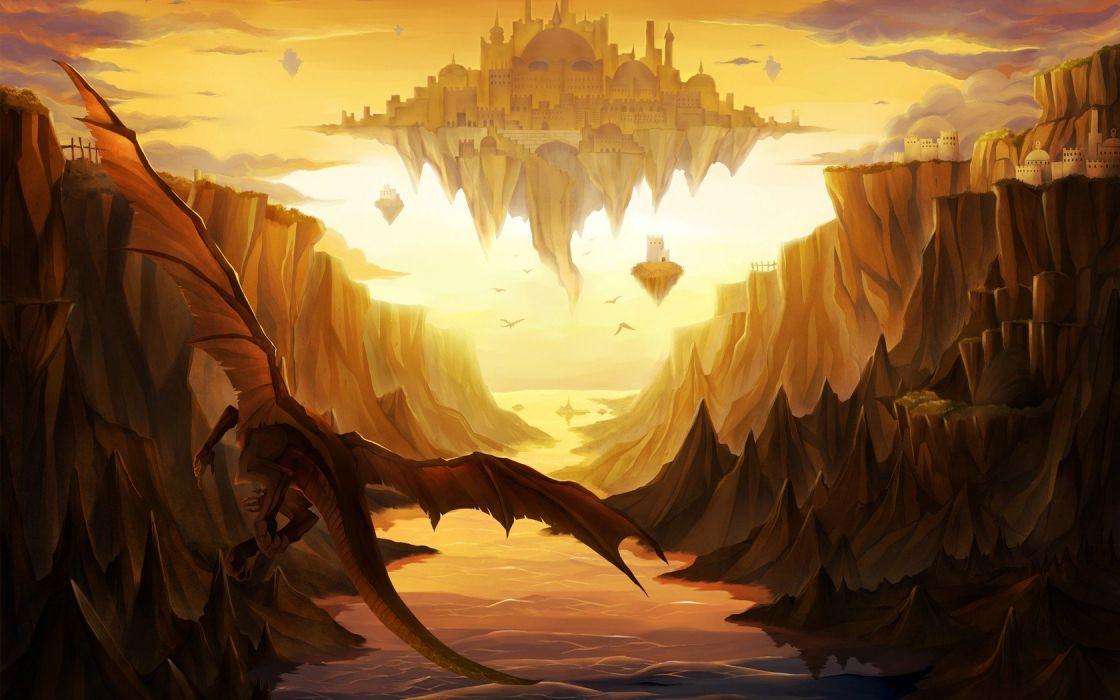 castles dragons valleys rocks fantasy art floating islands wallpaper