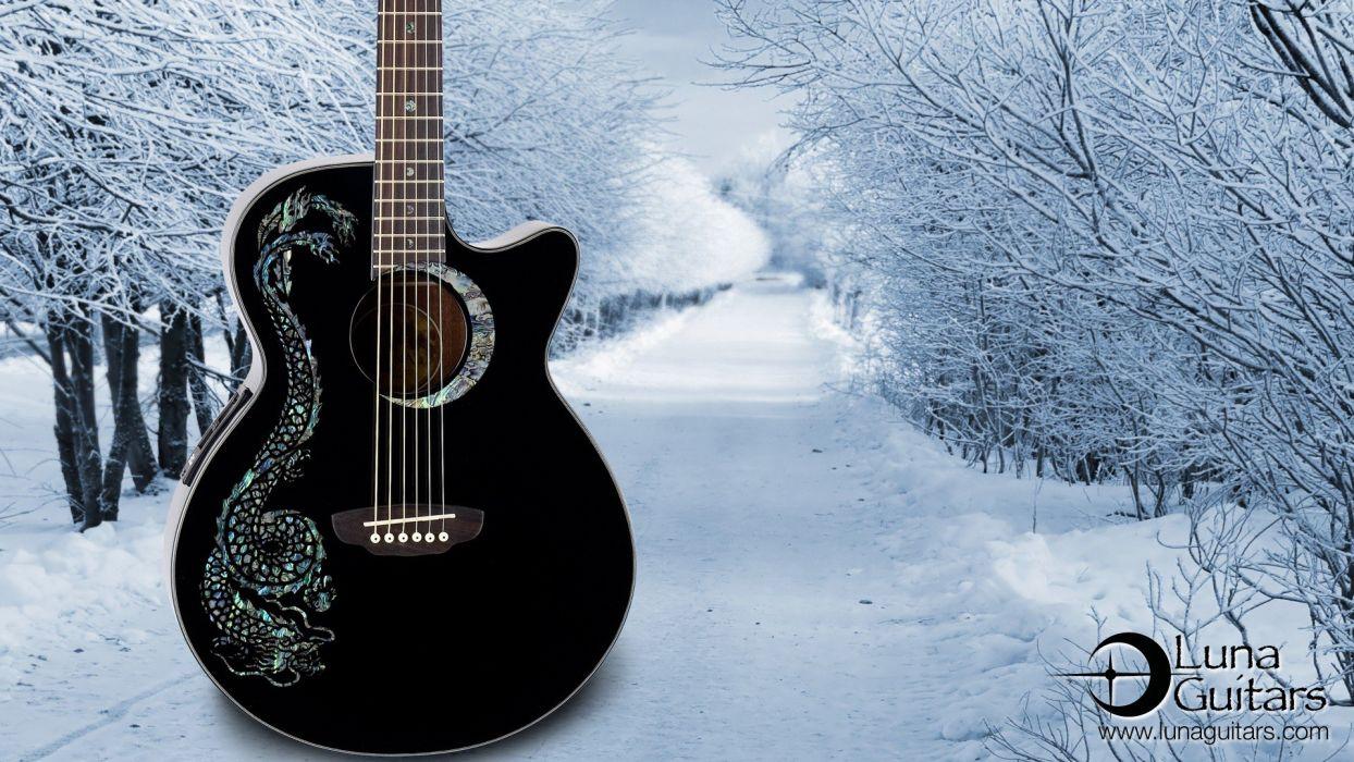 nature snow guitars wallpaper