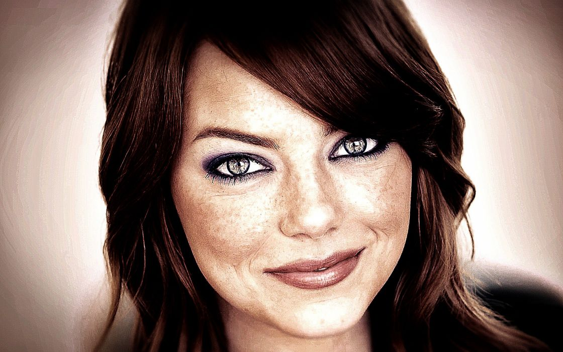 women eyes stars redheads celebrity Emma Stone smiling Hollywood creativity contrast wallpaper