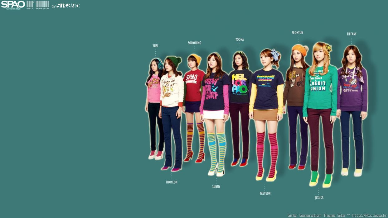 women Girls Generation SNSD simple background striped legwear wallpaper