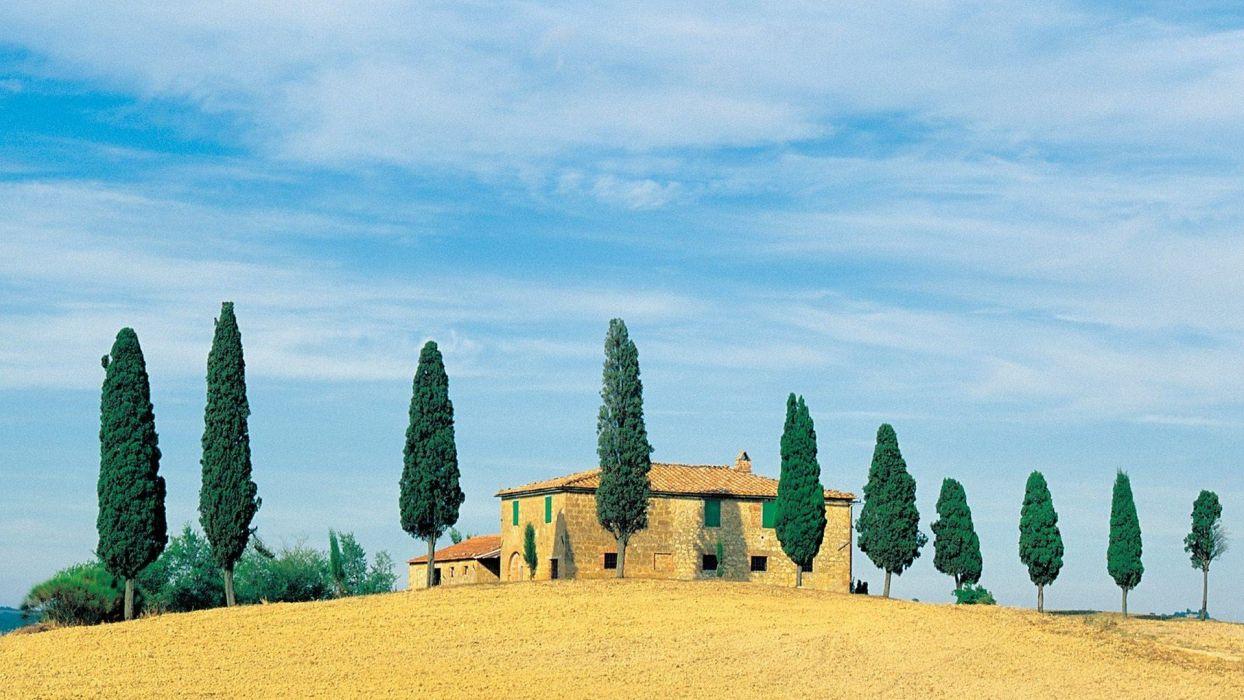houses golden Italy hillside wallpaper