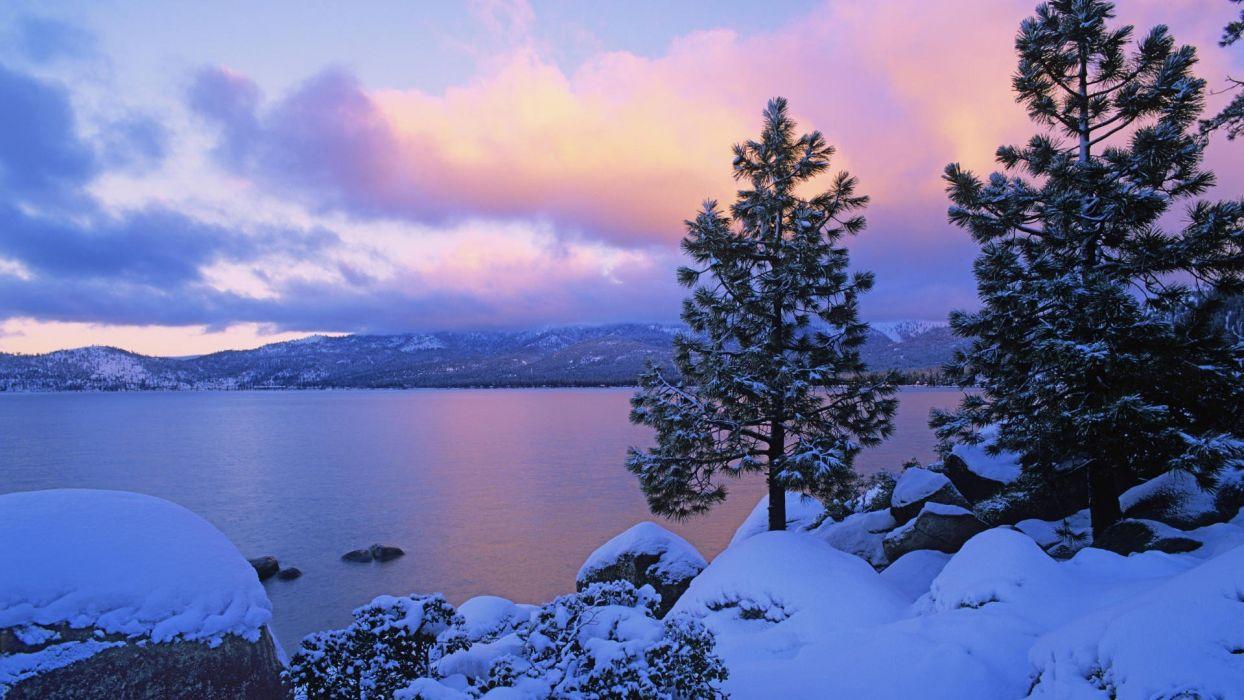 winter lakes Lake Tahoe colors wallpaper
