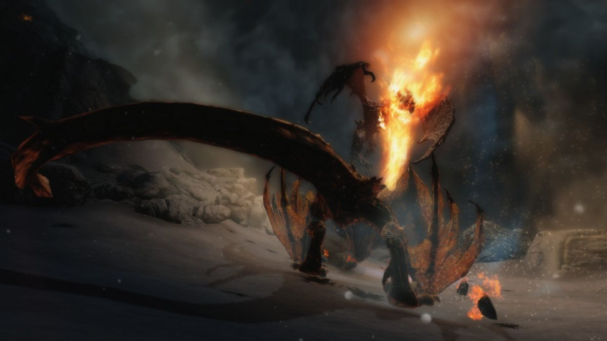 dragons The Elder Scrolls V: Skyrim wallpaper