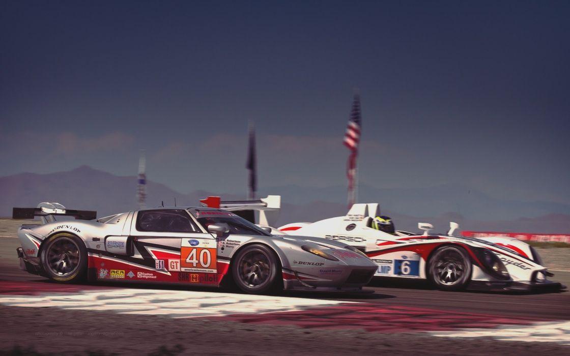 vintage racing Ford GT40 ALMS Porsche Spyder porsche spider wallpaper