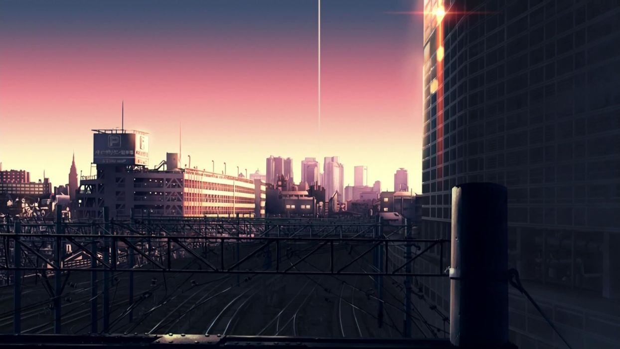 sunset cityscapes architecture buildings railroad tracks anime The Place Promised in Our Early Days wallpaper