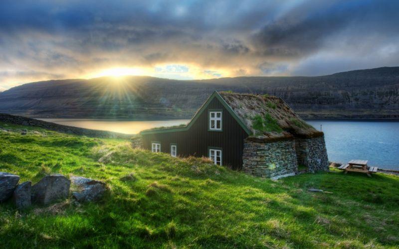 nature Sun grass houses rivers wallpaper