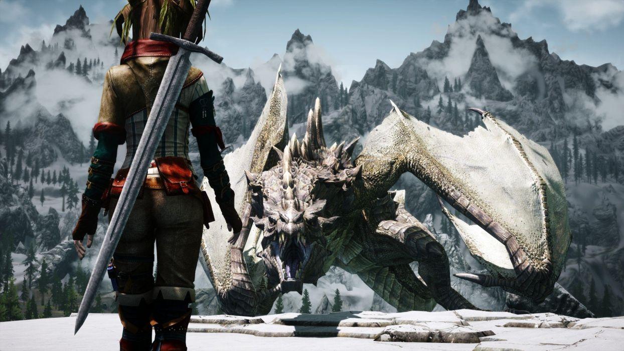 mountains dragons swords The Elder Scrolls V: Skyrim wallpaper