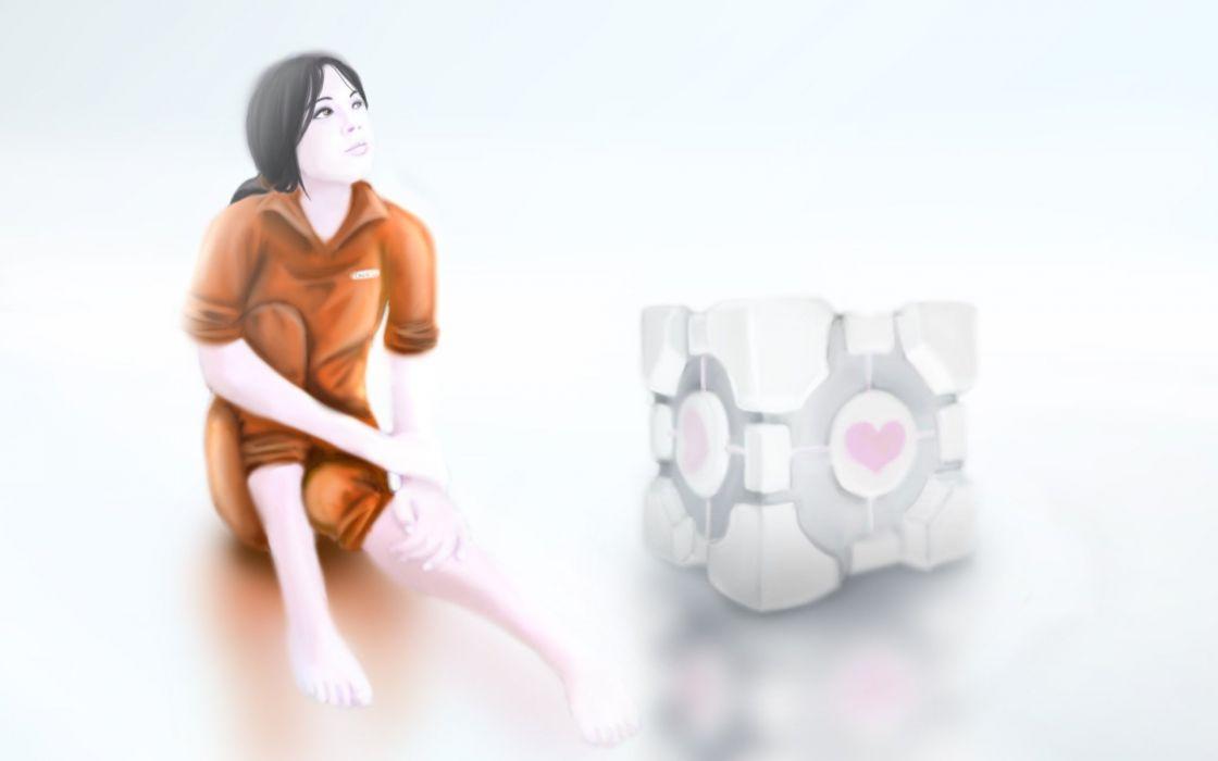Portal Companion Cube Chell wallpaper