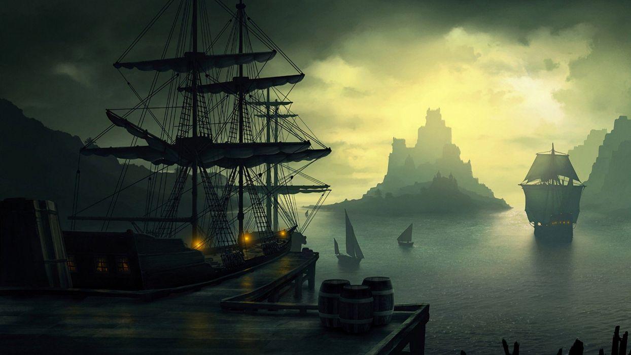 water sunset mountains ocean clouds ships piers digital art Harbor port sails barrels skies caravel sea wallpaper
