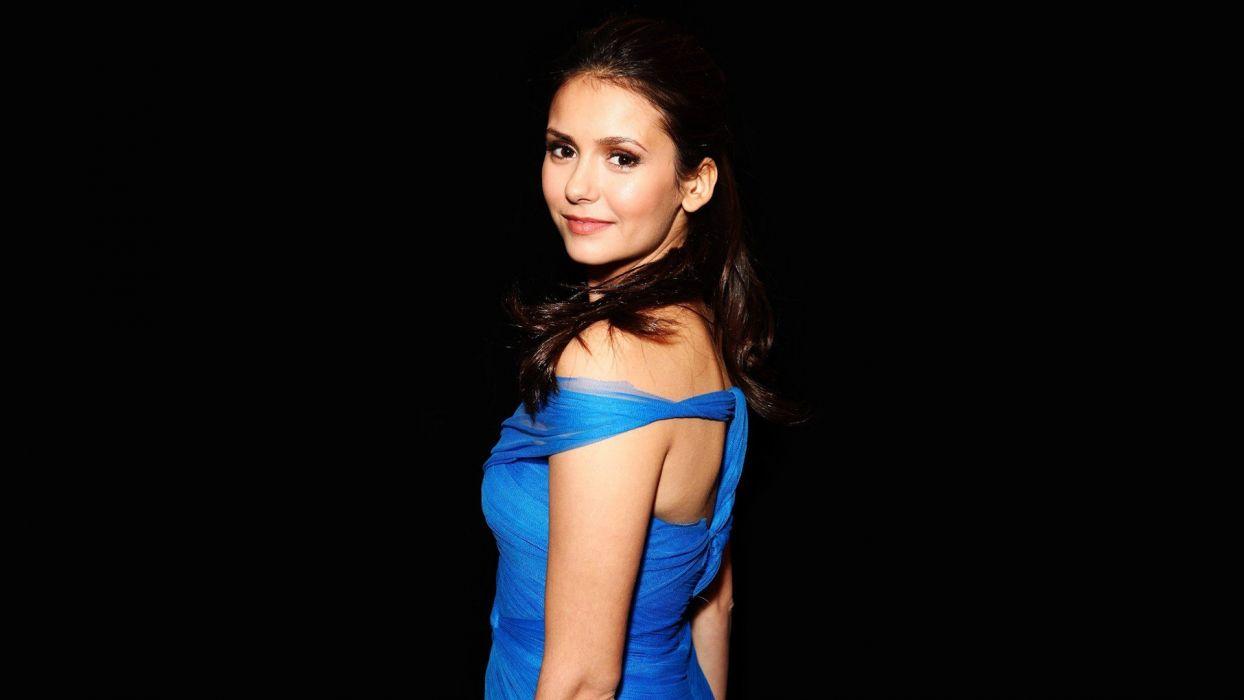 brunettes women actress Nina Dobrev blue dress wallpaper