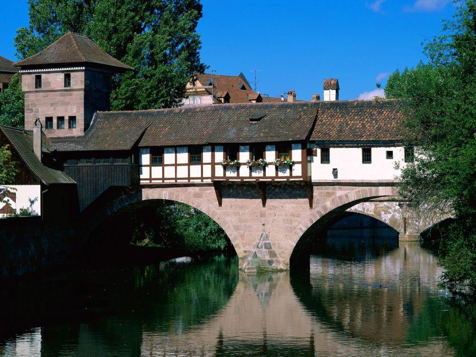 Germany bridges Bavaria rivers Pegnitz River wallpaper