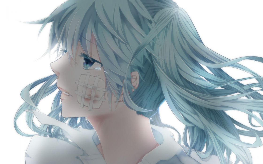 Vocaloid Hatsune Miku blue eyes blood tears long hair blue hair twintails bandaids profile simple background anime girls faces white background backlights bangs Rolling Girl (Vocaloid) parted lips wallpaper