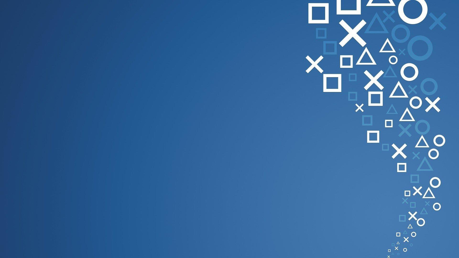 Video games blue minimalistic symbol Sony console ...
