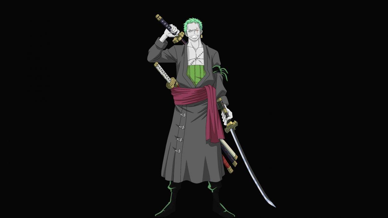 One Piece Anime Roronoa Zoro Green Hair Anime Anime Boys Swords