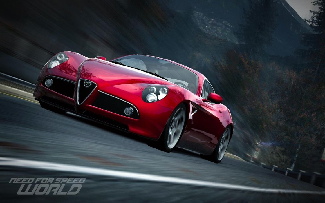 video games cars vehicles Alfa Romeo 8C Need for Speed World games Alfa Romeo 8C Competizione pc games front angle view wallpaper