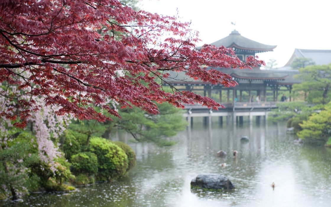 pink Asian architecture lakes wallpaper