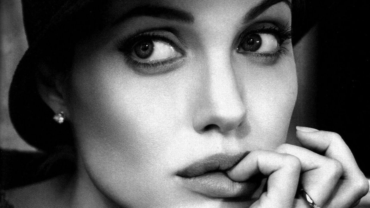 women black and white actress Angelina Jolie lips monochrome faces wallpaper